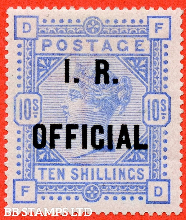 "SG. 010. L8 (4). "" FD "". 10/- Ultramarine. A very fine mounted mint example of this RARE mint Official issue complete with BPA certificate."