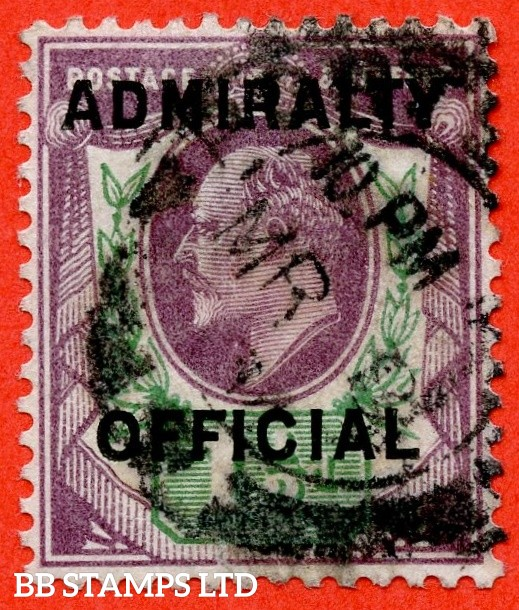 "SG. 0109. MO38. 1½d Dull purple & green. Admiralty Official Type II. A fine "" 8th March "" CDS used example of this very scarce Official."
