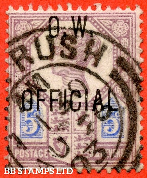"SG. 034. L34. 5d Dull purple & blue ( Die II ). O.W. Official. A very fine "" 25th August 1903 "" CDS used example. Complete with BPA certificate."