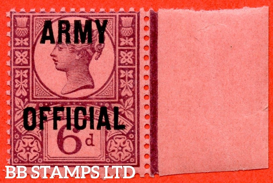 "SG. 045. L40. 6d purple / rose - red. "" ARMY OFFICIAL "". A super UNMOUNTED MINT right hand marginal example."