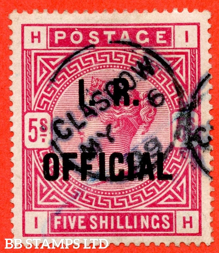 "SG. 09. L7 (2). "" IH "". 5/- Rose I.R. Official. A fine "" 6th May 1899 GLASGOW "" CDS used example of this difficult stamp."
