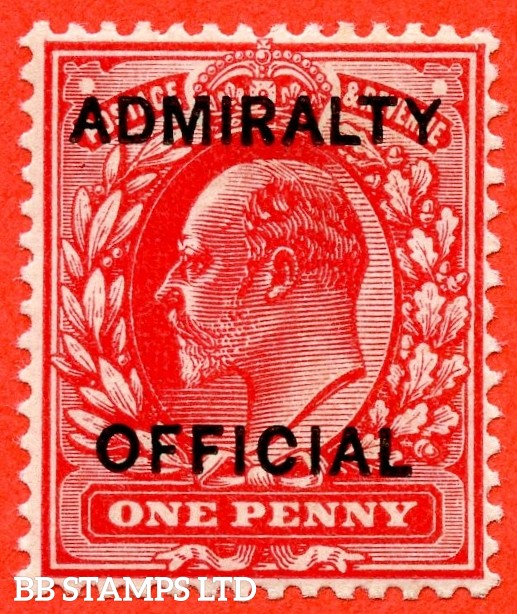 SG. 0102.  MO31. 1d scarlet. Admiralty Official. Type 1. A superb UNMOUNTED MINT example complete with RPS certificate.