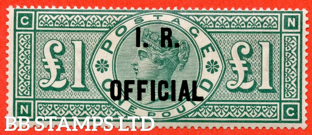"""SG. 016. L11. """" NC """". £1.00 Green. I.R. Official. A very fine UNMOUNTED MINT example complete with BPA certificate. A RARE stamp in mint condition."""