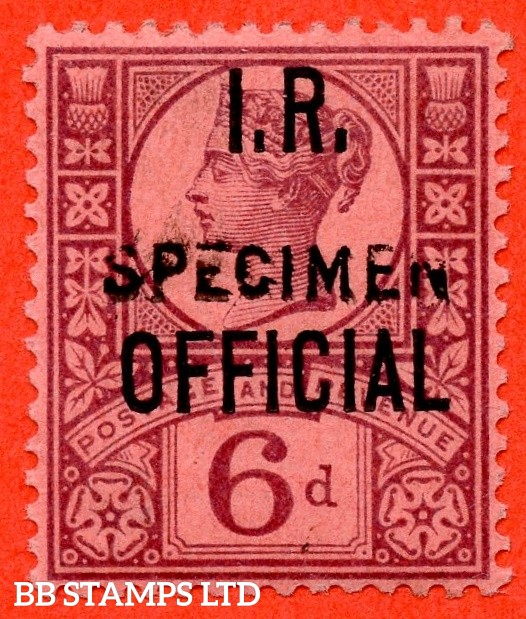 SG. 018 s. L15 s. 6d Deep Purple. I.R. Official. A super mounted mint example overprinted SPECIMEN type 15.