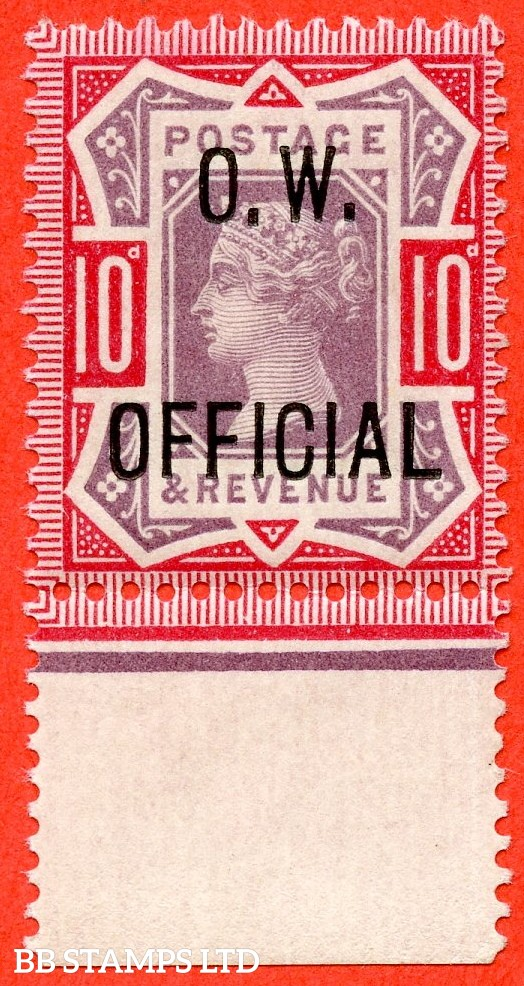 SG. 035. L35. 10d Dull Purple & Carmine. O.W. OFFICIAL. A superb UNMOUNTED MINT bottom marginal example of this RARE Victorian Official complete with RPS certificate.
