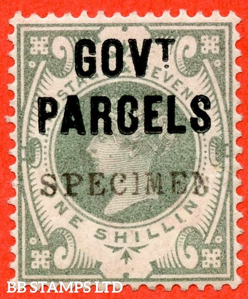 "SG. 068 s. L29 s. 1/- dull green. "" Govt. Parcels "". An average example overprinted "" SPECIMEN "" type 9."