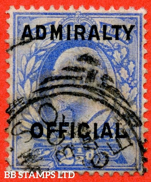SG. 0111. MO40. 2½d Ultramarine Admiralty official Type II. A fine used example of this very scarce stamp. Complete with BRANDON certificate.