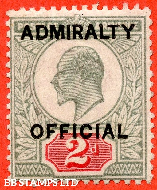 SG. 0104. MO33. 2d Yellowish green & Carmine red. Admiralty Official type 1. A super UNMOUNTED MINT example of this scarce Official complete with RPS certificate.