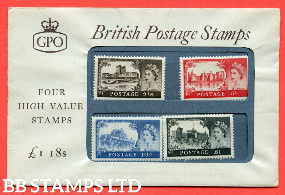 SG. 595 - 598. 1960 DLR High Value Set of 4. UK Edition. A very fine example of this scarce early forerunner Presentation Pack.