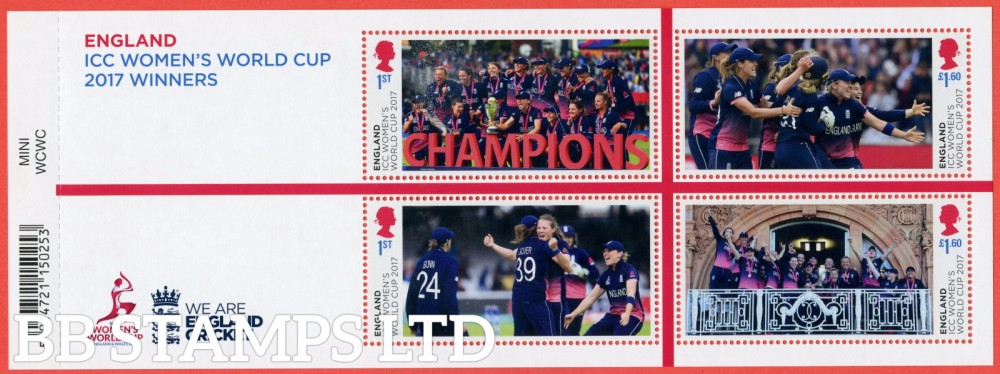 2019 Women's Cricket World Cup Winners 2017 Minisheet - WITH BARCODE