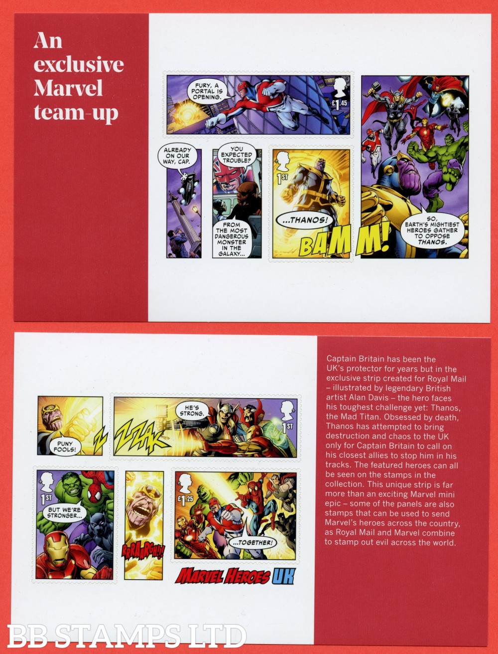 2019 Marvel Split M/S from DY29 ( Panes 3 & 4 ) (  2 Panes ) ( Booklet Panes 4185a & 4196a as MS4192 but split with enlarged margins ). 14.03.19