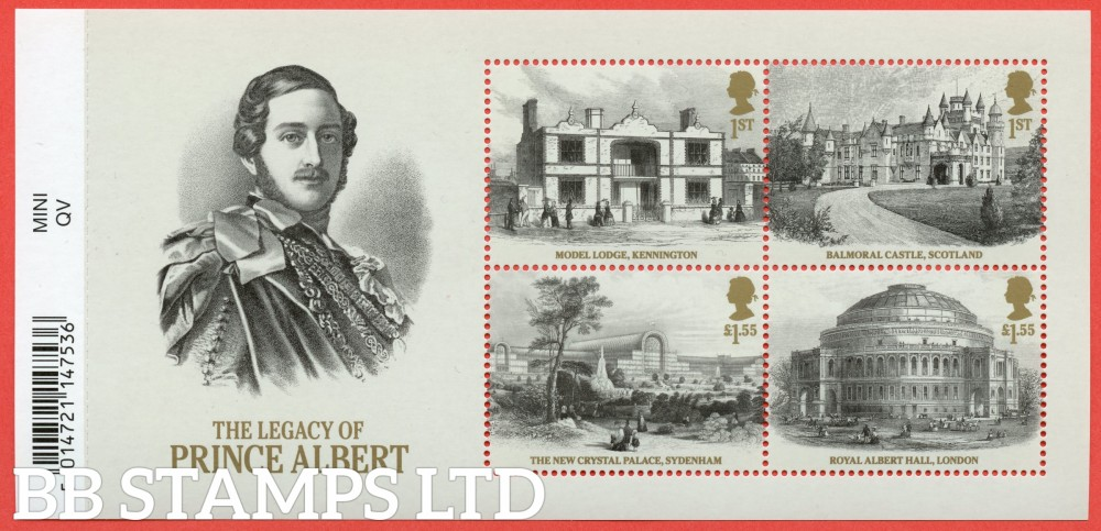 2019 Bicentenary of Queen Victoria - Legacy of Prince Albert Minisheet - WITH BARCODE (AVAILABLE FROM: 24/05/19) (Images will be uploaded & orders dispatched on or after day of issue)