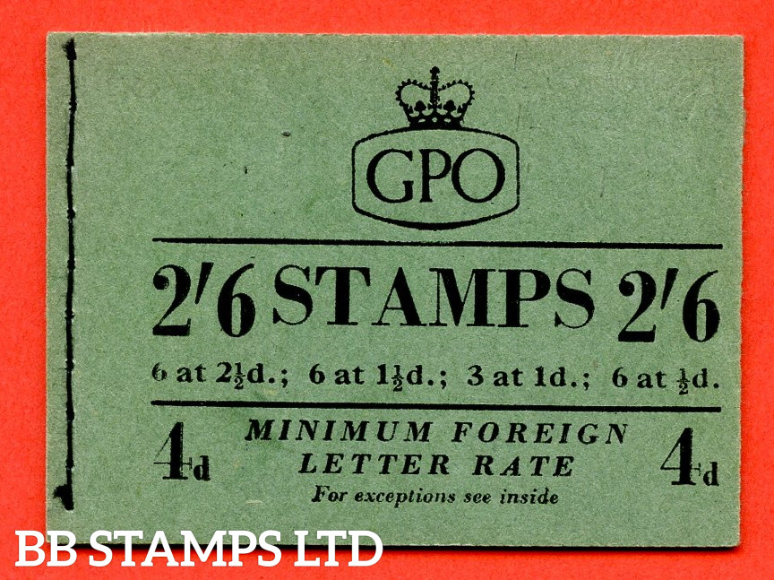 SG. F8. 2/6 1953 October. GVI and QEII Mixed. 1d Advert Pane PPR 15mm. Green Cover Type B
