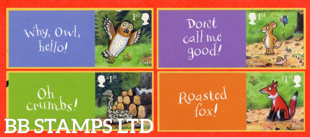 2019 The Gruffalo Sheet 4 stamps with labels (labels may vary) 10.10.19