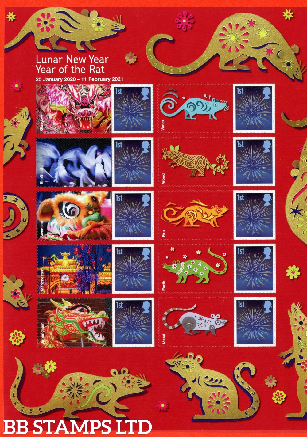 Year of the Rat half sheet of 10 with labels. Half supplied may vary from the one shown. Stamps as self adhesive  Printed in Litho. For Complete Sheet, see Smilers Sheets 18.11.19