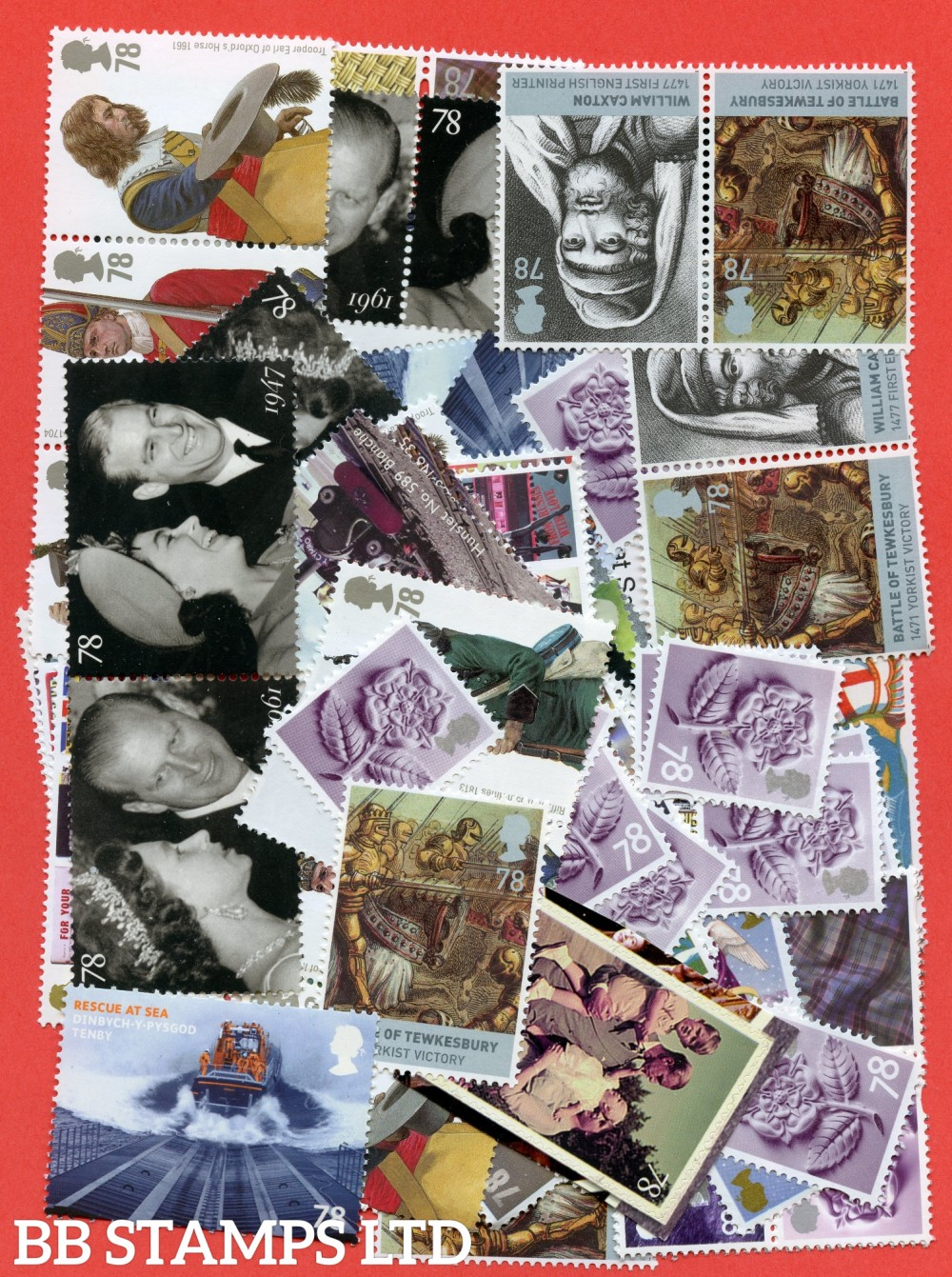 100 x 78p stamps. All of our postage lots are genuine mint stamps with gum and have never been used as postage.