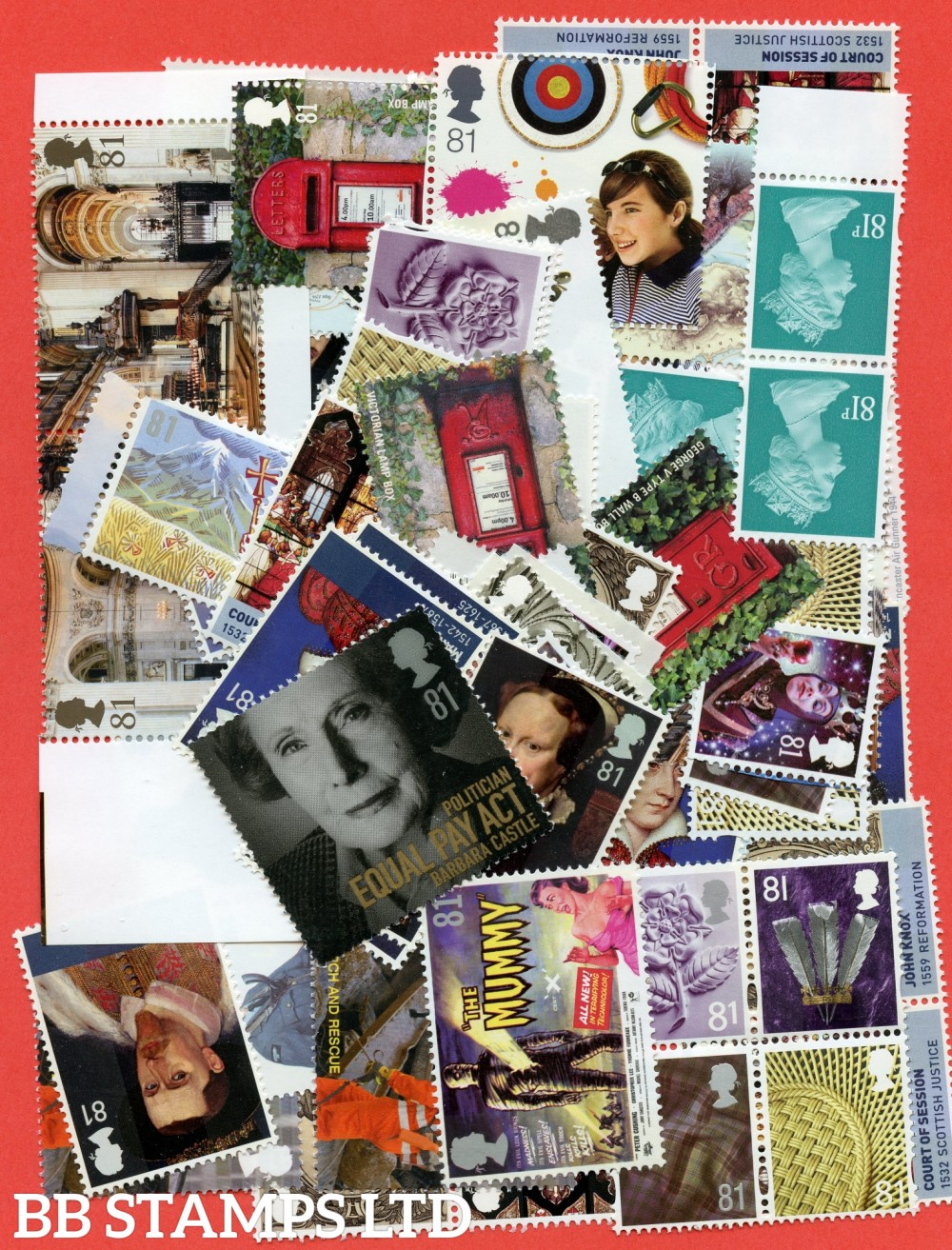 100 x 81p stamps. All of our postage lots are genuine mint stamps with gum and have never been used as postage.