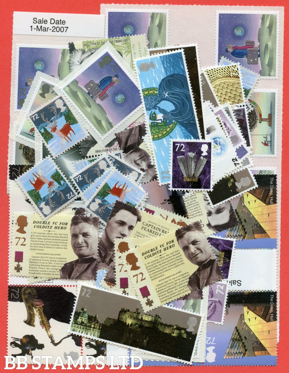 100 x 72p stamps. All of our postage lots are genuine mint stamps with gum and have never been used as postage.
