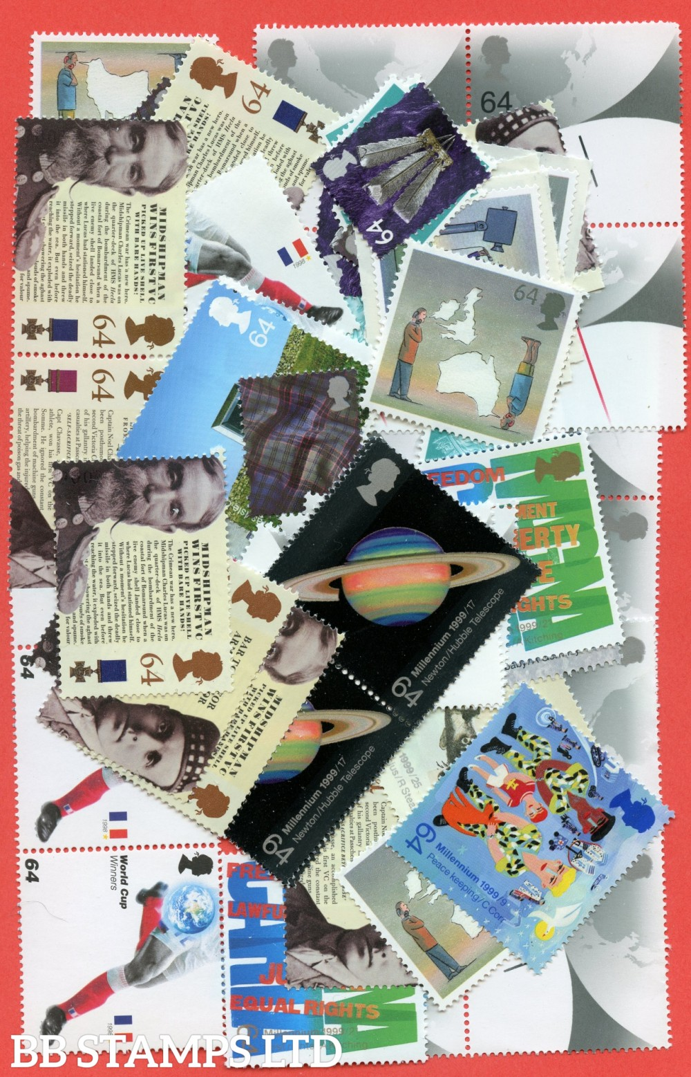 100 x 64p stamps. All of our postage lots are genuine mint stamps with gum and have never been used as postage.