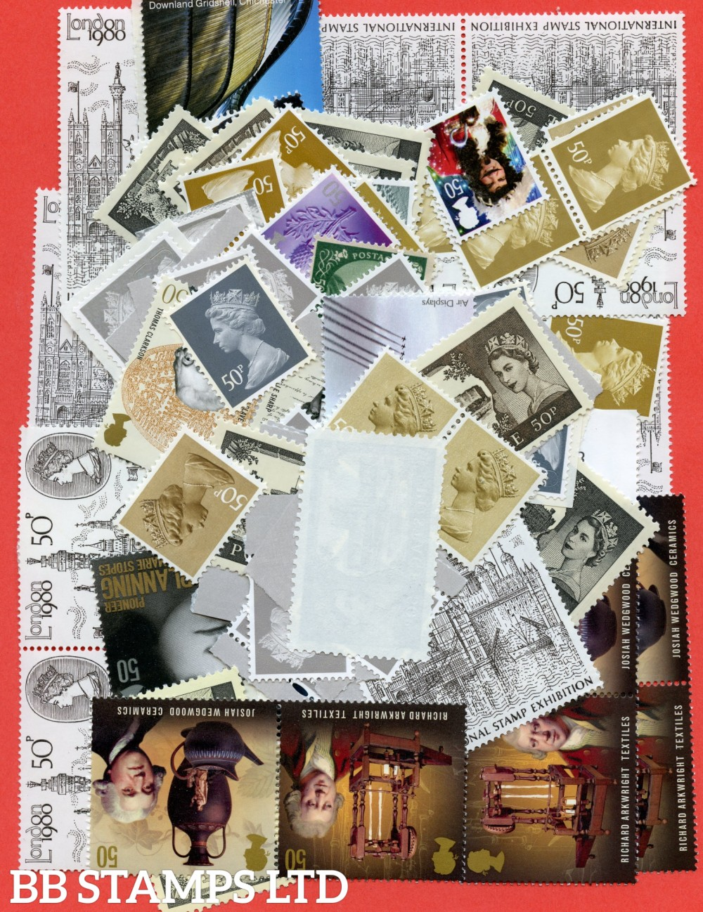 100 x 50p stamps. All of our postage lots are genuine mint stamps with gum and have never been used as postage.