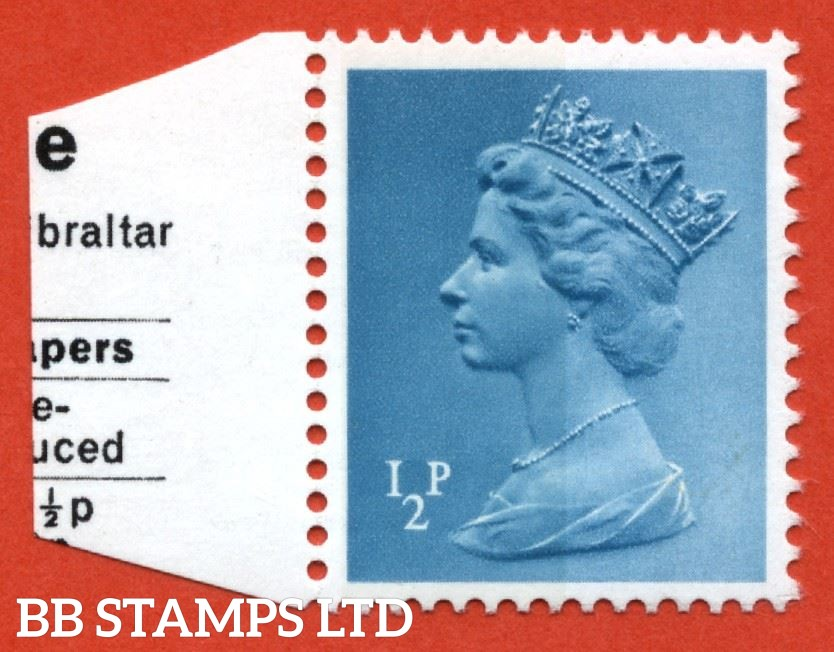 ½p FCP/PVA with complete BROAD BAND LEFT phosphor error (usually a two banded stamp). Ex. Wedgwood ½p left band pane. With small part of pane attached for added provenance. Rarely available. SG spec U48h, CC 53BB. (JMD)