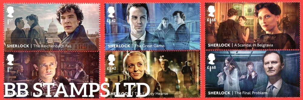 2020 Sherlock- 3 x vertical pairs  (under UV light illustrations appear)  18.8.20 (PACK: Contains M/S No Barcode)