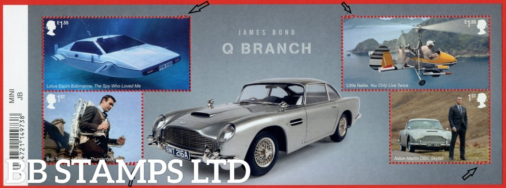 2020 James Bond Minisheet- WITH BARCODE (under UV light illustrations appear)  detail-007 in perforation