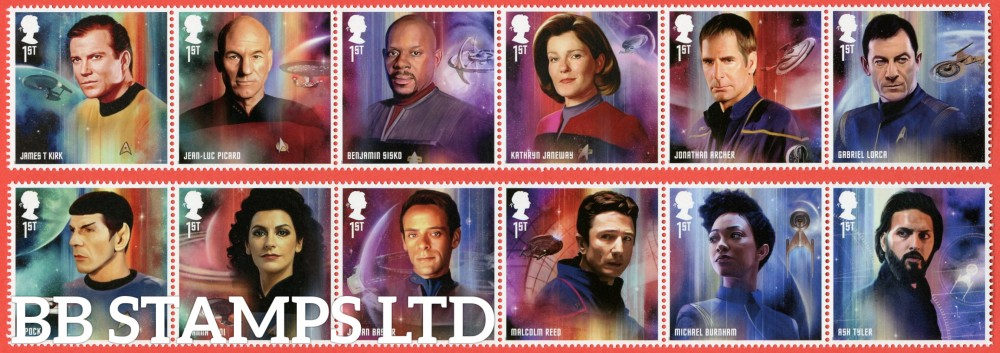 2020 Star Trek (2 x 6 1st class strips) Original series through to modern day (13.11.20) (PACK: Includes MS No Barcode) (Pack 594)