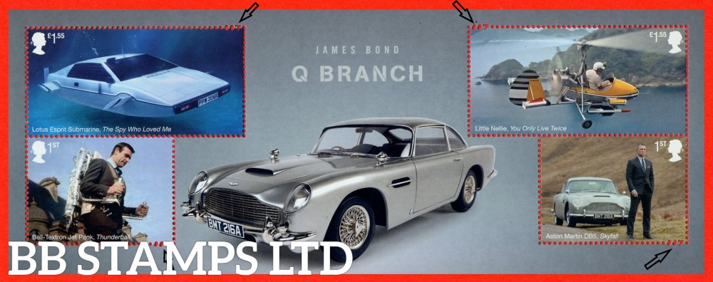 2020 James Bond Minisheet- WITHOUT BARCODE (under UV light illustrations appear) -007 detail in perforation