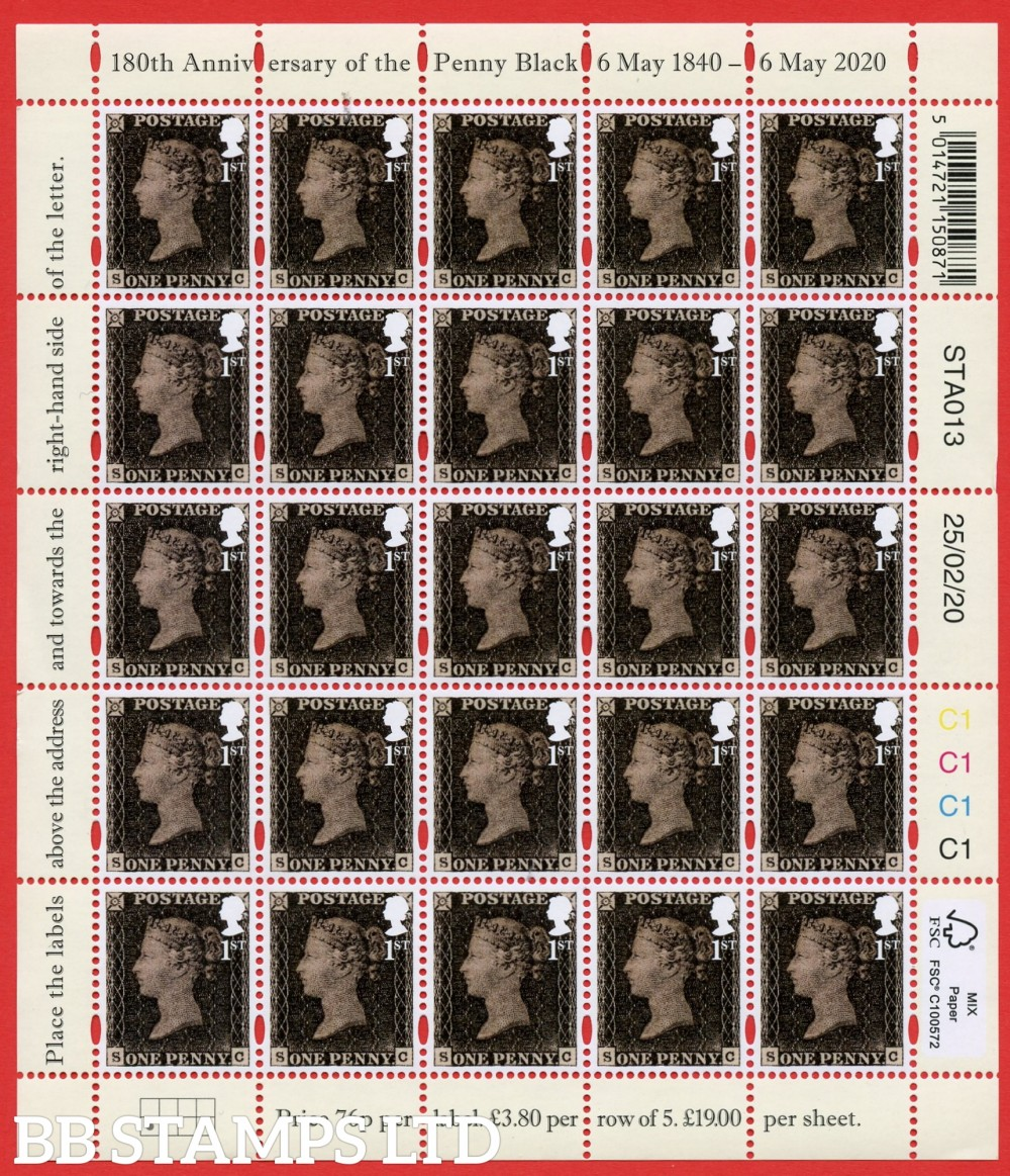 2020 'Sheetlet' The 180th Anniversary of Penny Black Stamp (Sheet) Cartor x 25 1st Class 6.05.20 (123mm x 140mm)