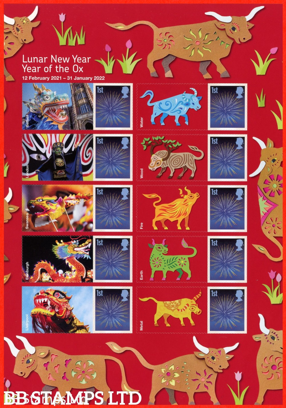 Lunar New Year of the Ox half sheet of 10 with labels. Half supplied may vary from the one shown. Stamps as self adhesive  Printed in Litho. For Complete Sheet, see Smilers Sheets 08.12.20