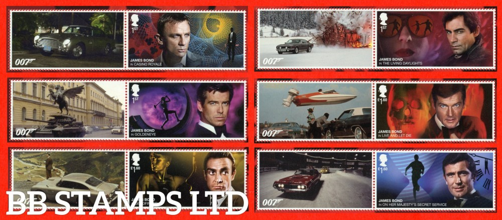 2020 James Bond- Smiler Sheet  set of 6 stamps with labels -(labels may vary) 17.3.20