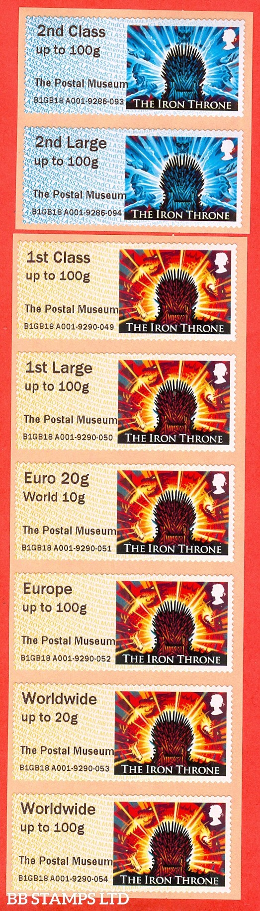 2018 Game Of Thrones - The Iron Throne: The Postal Museum 2nd - Worldwide 100g (set of 8) Type IIIA CL18/R18Y (BK21,P14)