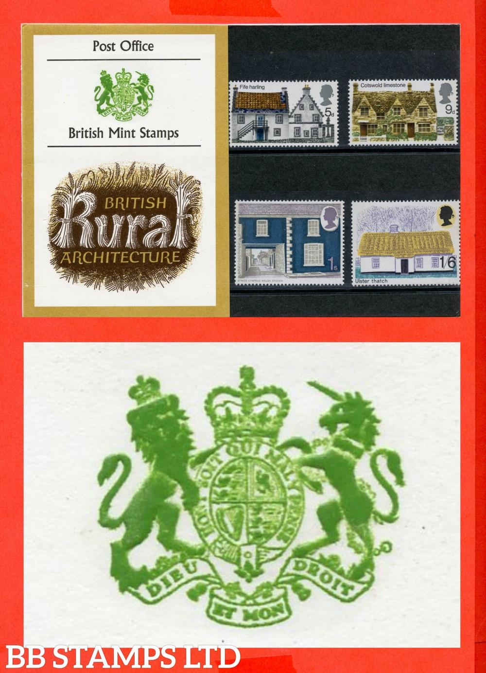 1970 British Rural Presentation Pack Type B = Two Tufts On Unicorns Head.