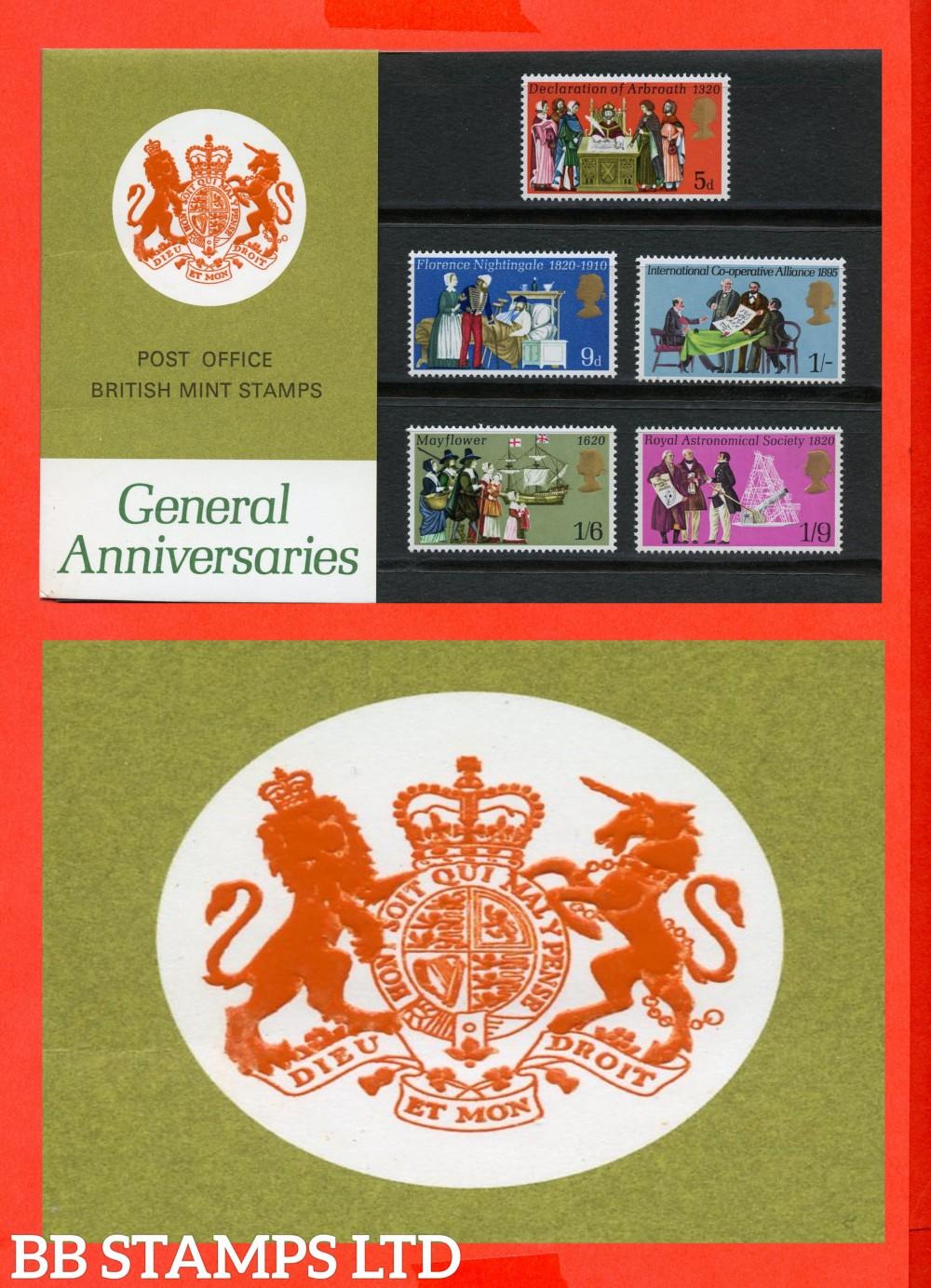 1970 General Anniversaries Pres Pack. Type I = Chain Visible, Marjorie Spelt Incorrect, Descendants Spelt Incorrect.