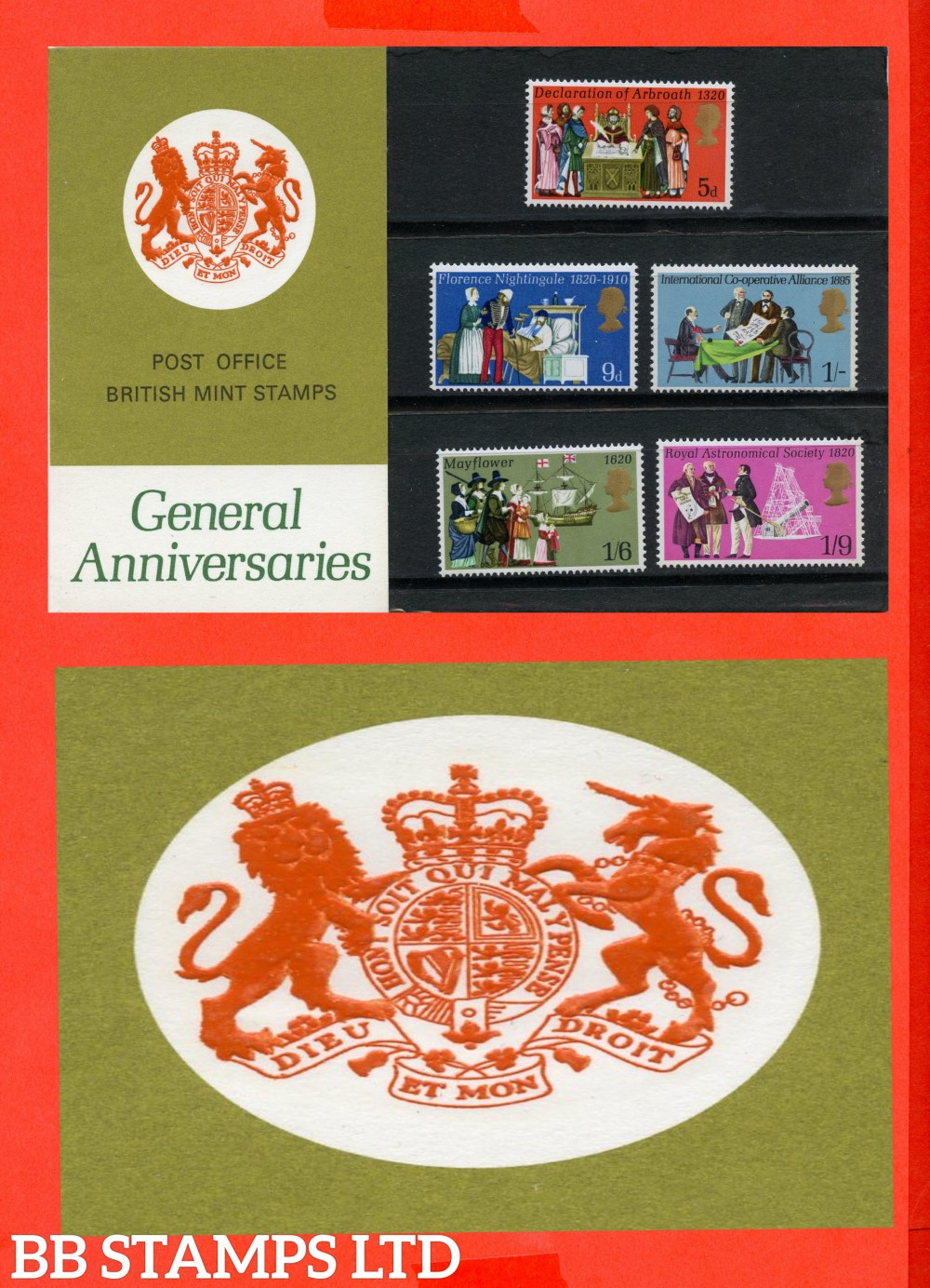 1970 General Anniversaries Pres Pack. Type E = Chain Visible, Marjorie Spelt Correct, Descendants Spelt Correct.