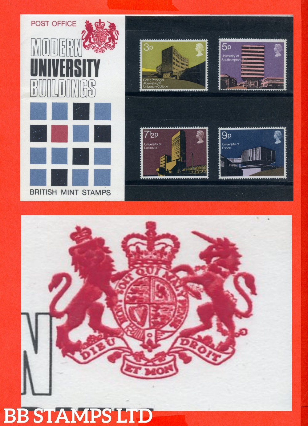 1971 University Buildings. British Architecture (Pres Pack is Type B = (Two Tufts On Unicorn's Head)
