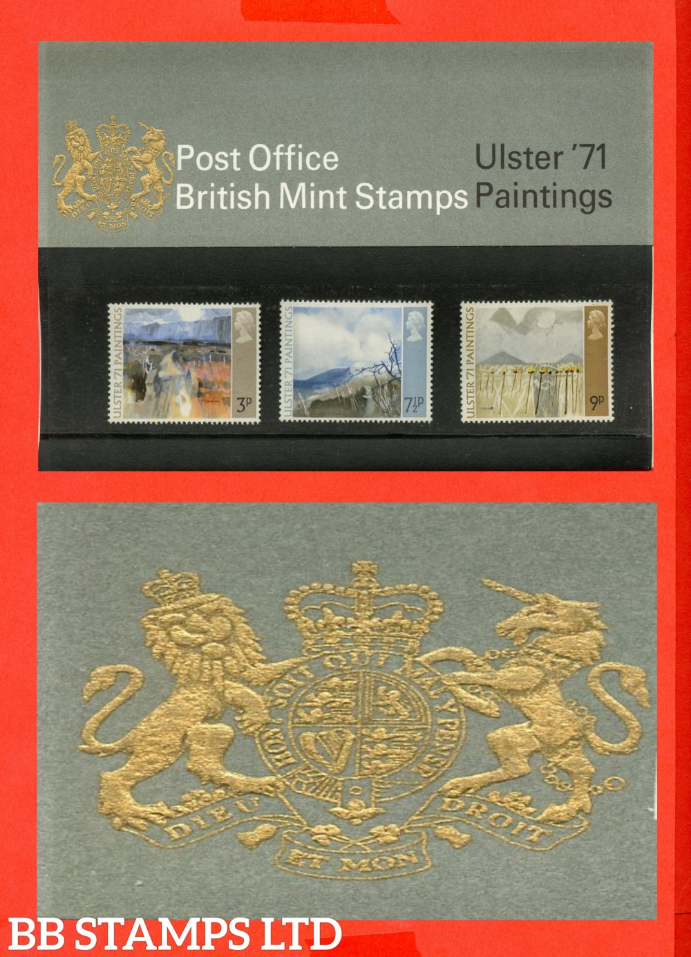 1971 Ulster Paintings Pres Pack Type B. ( Type B = Chain Visible Under Unicorns Front Leg)