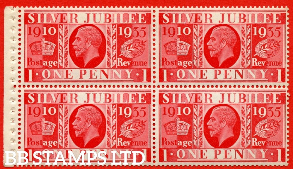 NcomB6 1d Complete booklet pane of 4. 1935 Silver Jubilee. Type III.