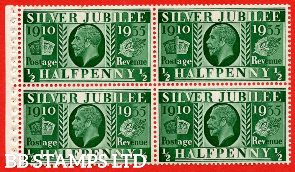NcomB5 ½d Complete booklet pane of 4. 1935 Silver Jubilee. Type III.