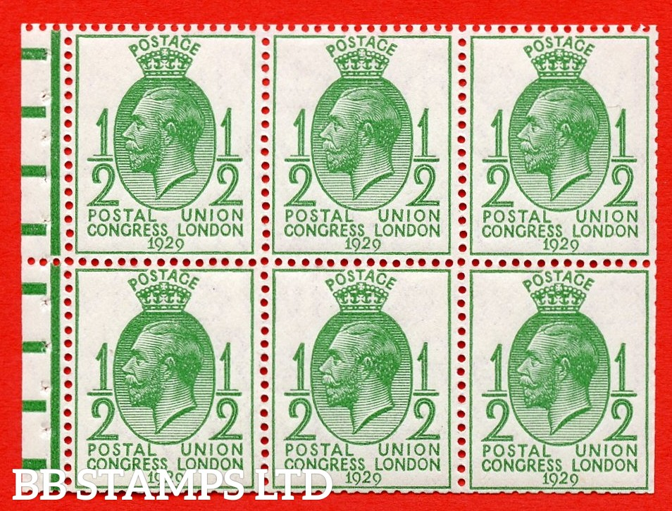 NcomB1 ½d Complete booklet pane of 6. With horizontal bars. 1929 PUC. Perf type P.