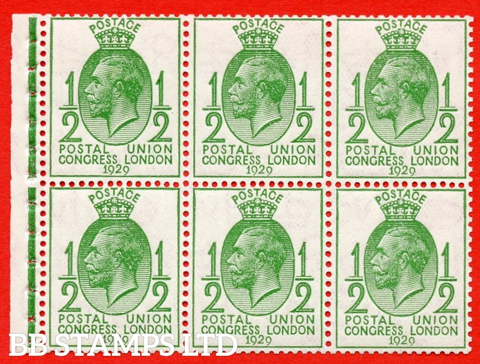 NcomB1 ½d Complete booklet pane of 6. No horizontal bars. 1929 PUC. Perf type I.