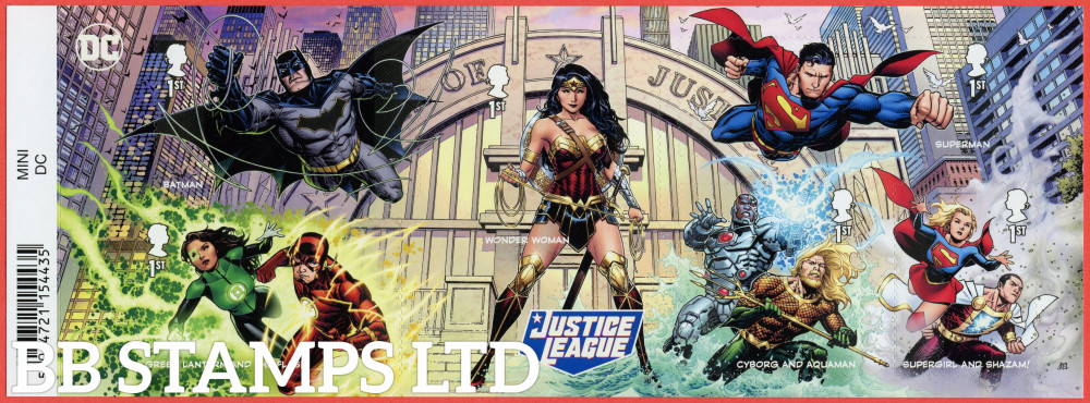 2021 DC Collection-Justice League Minisheet WITH BARCODE  (6 x 1st) (17.09.21) (under UV light illustrations appear)