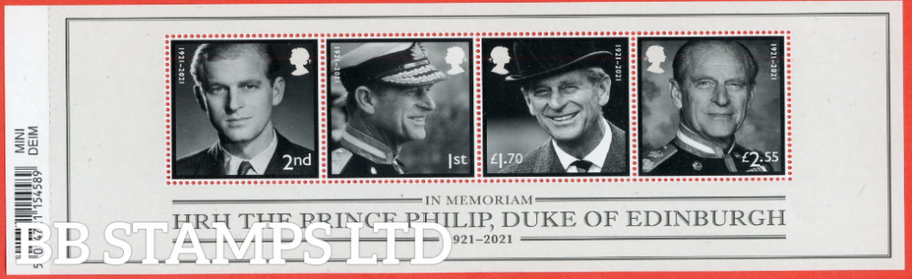 2021-HRH The Prince Philip, Duke of Edinburgh Minatare sheet WITH BARCODE (MS containing 2nd,1st,£1.70,£2.55) (24.06.21)
