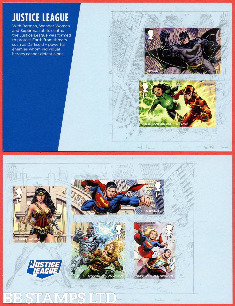 2021 DC Collection- Justice League Split M/S from DY40 (Panes 3/4) (6x1st as from Minisheet) (17.09.21)