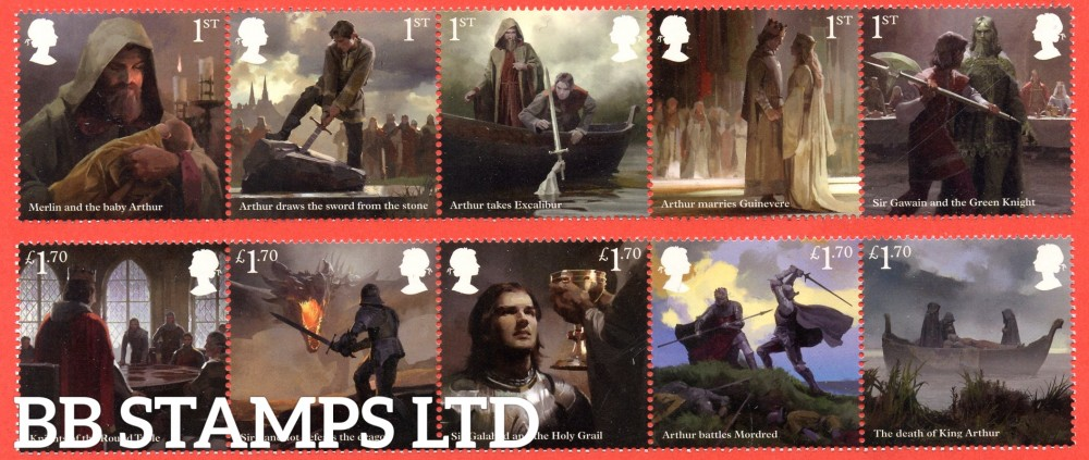 2021-The Legend of King Arthur-(2 strips 5 x 1st and 5 x £1.70) (Pack.598 ISP--Litho) 16.03.21
