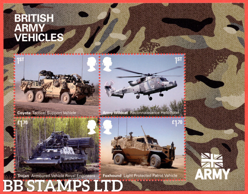 2021 British Army Vehicles Minisheet WITHOUT BARCODE (containing 2x1st,2x£1.70) (02.09.21)