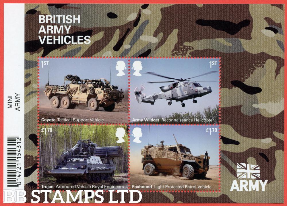 2021 British Army Vehicles Minisheet WITH BARCODE (containing 2x1st,2x£1.70) (02.09.21)