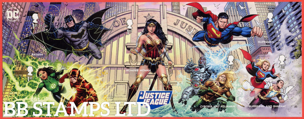 2021 DC Collection -Justice League Minisheet WITHOUT BARCODE (6x1st) (17.09.21) (under UV light illustrations appear)