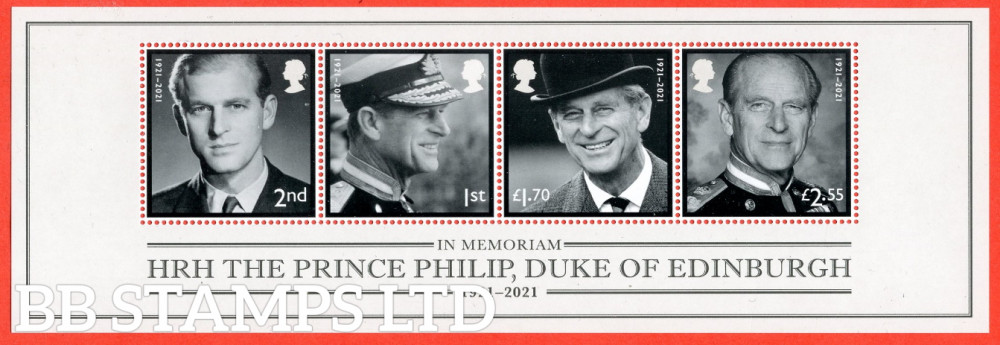 2021-HRH The Prince Philip, Duke of Edinburgh Minatare sheet WITHOUT BARCODE (MS containing 2nd,1st,£1.70,£2.55) (24.06.21)